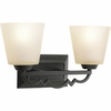 Thomasville Lighting Meeting Street Collection (P2023-80) Traditional/Casual 2 Light Bath Fixture shown in Forged Black with Etched Ivory Pleated Glass