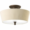 Thomasville Lighting Meeting Street Collection (P2827-102) Traditional/Casual 2 Light Semi-Flush Mount shown in Roasted Java with Ivory Pleated Linen