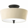 Thomasville Lighting Meeting Street Collection (P2827-80) Traditional/Casual 2 Light Semi-Flush Mount shown in Forged Black with Ivory Pleated Linen