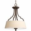 Thomasville Lighting Meeting Street Collection (P2828-102) Traditional/Casual 3 Light Semi-Flush Mount shown in Roasted Java with Ivory Pleated Linen