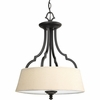 Thomasville Lighting Meeting Street Collection (P2828-80) Traditional/Casual 3 Light Semi-Flush Mount shown in Forged Black with Ivory Pleated Linen