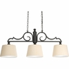 Thomasville Lighting Meeting Street Collection (P4530-80) Traditional/Casual 3 Light Linear Chandelier shown in Forged Black with Ecru Pleated Linen Shades
