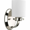 Thomasville Lighting Nisse Collection (P2012-104) Contemporary/Modern 1 Light Bath Fixture shown in Polished Nickel with Opal Etched Glass