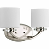 Thomasville Lighting Nisse Collection (P2013-104) Contemporary/Modern 2 Light Bath Fixture shown in Polished Nickel with Opal Etched Glass