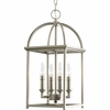 Thomasville Lighting Piedmont Collection (P3884-126) Traditional/Classic 4 Light Foyer Fixture shown in Burnished Silver with Matching Candle Covers and Caps Glass