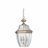 Three-Light Lancaster Brass Outdoor Pendant