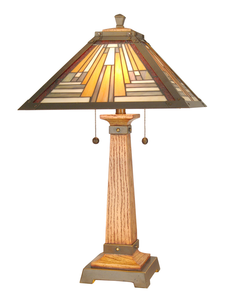 Dale Tiffany Lighting (TT60287) Thunder Bay Table Lamp shown in Antique Brass/Mahogany Finish