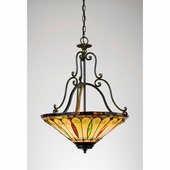 Tiffany- Americana Style Tiffany Pendant In Imperial Bronze Finish From Quoizel Lighting- TF1039IB