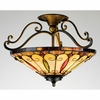 Tiffany- Americana Style Tiffany Semi-Flush Mount In Imperial Bronze Finish From Quoizel Lighting- TF1040IB