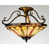"Quoizel Lighting (TF1040IB) Tiffany 19"" Semi-Flush Mount in Dark Bronze with Antique Gold Highlights & Semi-Gloss Finish"