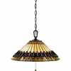 Tiffany- Arts & Crafts Style Tiffany Pendant In Vintage Bronze Finish From Quoizel Lighting- TF489PVB