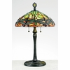Tiffany- European Style Green Dragonfly Tiffany Table Lamp In Vintage Bronze Finish From Quoizel Lighting- TF6784VB