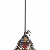 "Quoizel Lighting (TF1536VB) Tiffany 9"" Mini-Pendant in Dark Bronze with Lighter Bronze Highlight & Semi-Gloss Finish"