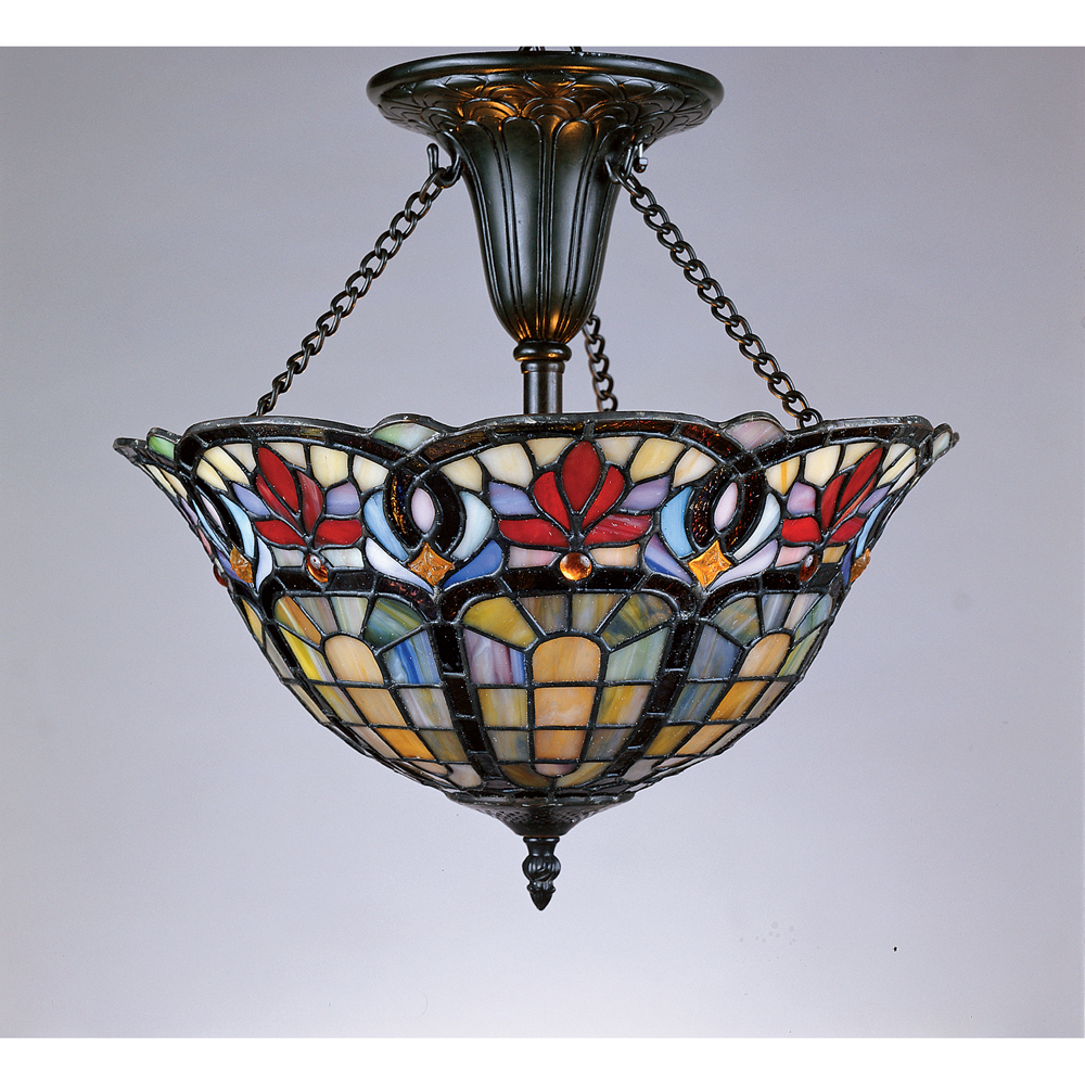 Tiffany- European Style Tiffany Semi-Flush Mount In Vintage Bronze Finish From Quoizel Lighting- TF1796VB