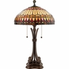 Tiffany- European Style West End Tiffany Table Lamp In Brushed Bullion Finish From Quoizel Lighting- TF6660BB