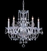 Traditional Crystal Collection 5 Light Chandeliers with Hand Polished Crystals shown in Polished Chrome by Crystorama Lighting