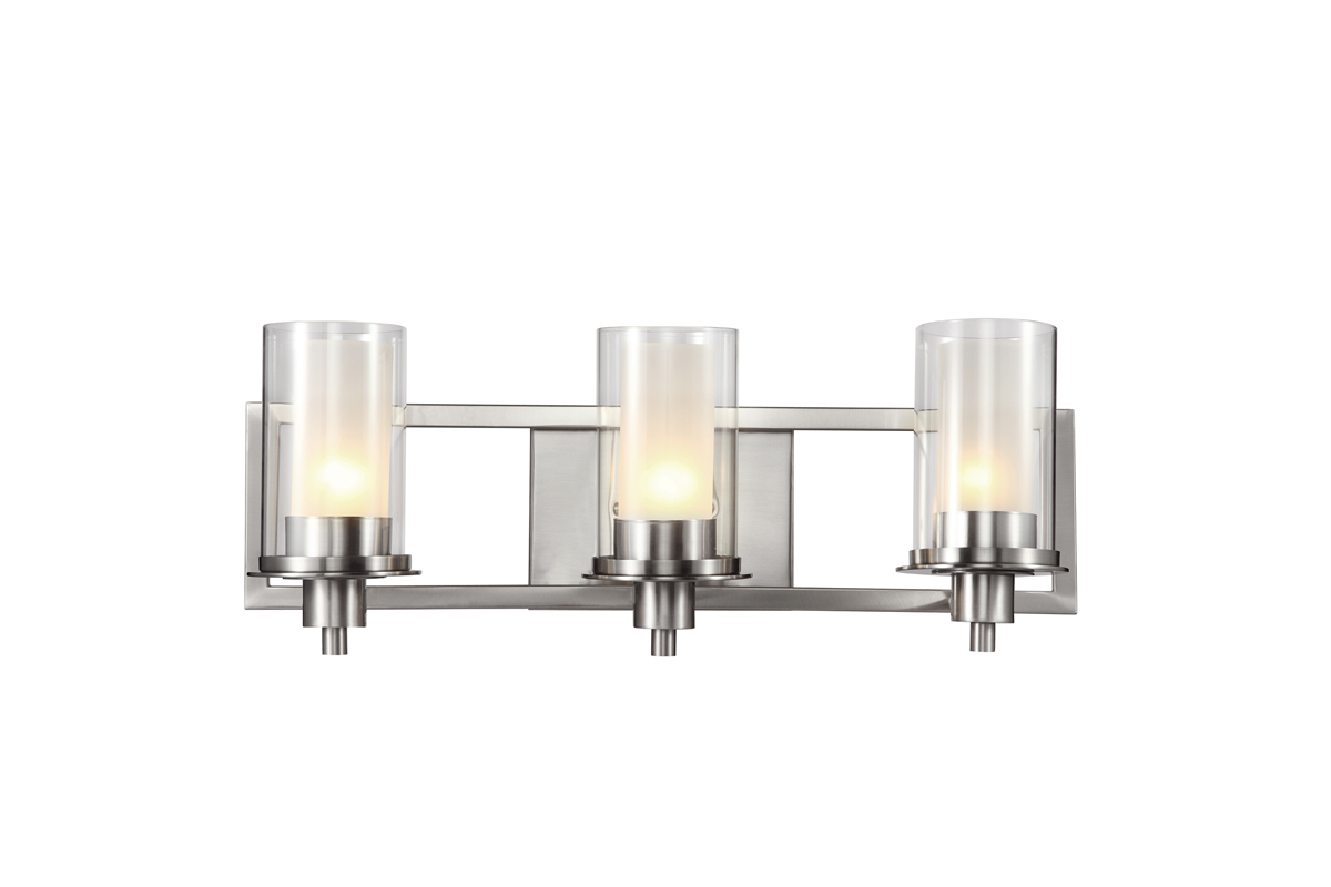 Trans Globe Lighting Nickel Square 3 Light Bathroom Vanity Fixture sh
