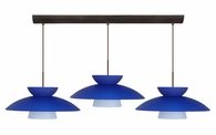 Trilo 15 Pendant 3 Light Bar Cord Fixture shown in Bronze with Blue Matte Glass Shade by Besa Lighting