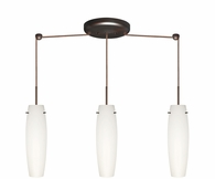 Tutu Pendant 3 Light Linear Cord Fixture shown in Bronze with Opal Matte Glass Shade by Besa Lighting