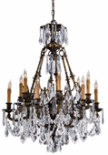Metropolitan Lighting (N9066) Vintage 12 Light Chandelier shown in Oxidized Brass with Bohemian/30 Percent Lead Crystals