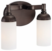 Metropolitan Lighting (N2602-590) Industrial 2 Light Bath Fixture shown in Industrial Bronze with Etched White Glass