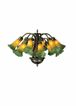 "Meyda Tiffany (15997) 20""W Amber/Green Pond Lily 12 Light Chandelier"