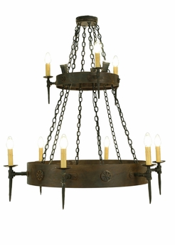 "Meyda Tiffany (112813) 47""W Warwick 12 Light Two Tier Chandelier"