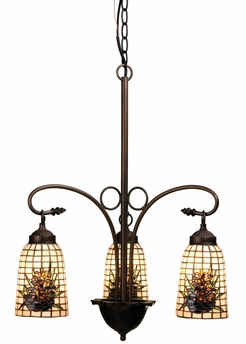 "Meyda Tiffany (73989) 20.5""W Pine Barons 3 Light Chandelier"