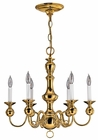 Hinkley Lighting (5126PB) Virginian 6-Light Chandelier in Polished Brass with Optional shade 5122BK Shade