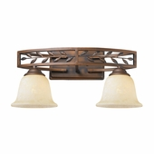 Woodbriar 2 Light Vanity in Sovereign Bronze by Golden Lighting
