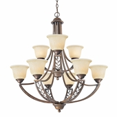 Woodbriar 2 Tier Chandelier in Sovereign Bronze by Golden Lighting