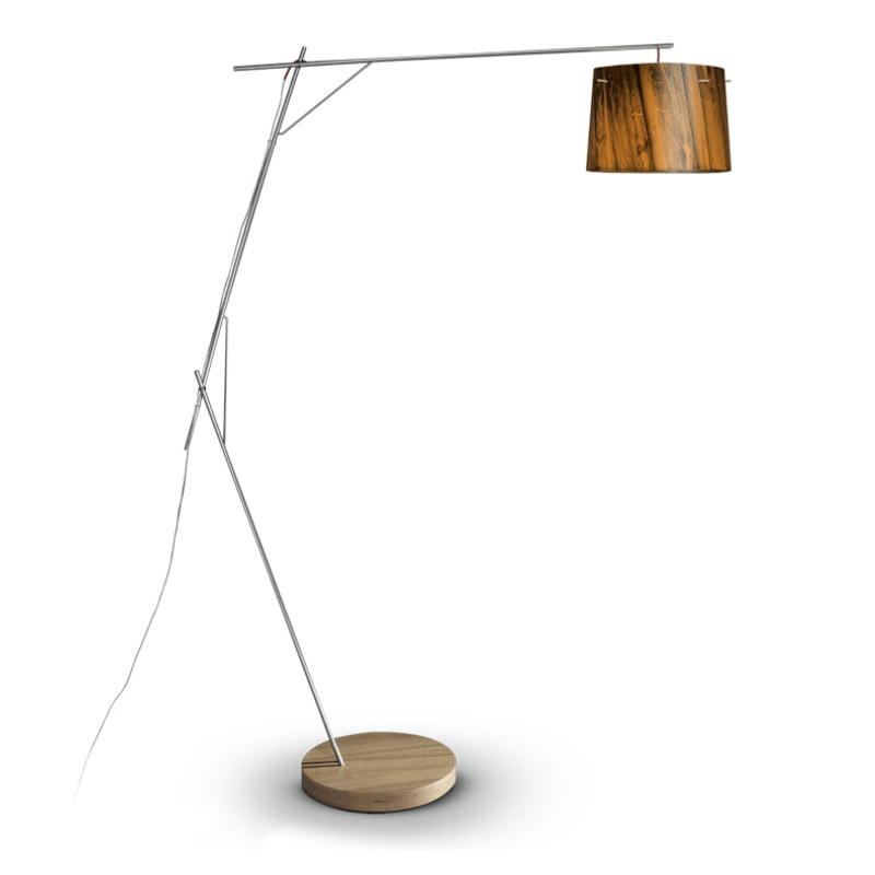 woody floor lamp in stainless steel wood made in manufactured in. Black Bedroom Furniture Sets. Home Design Ideas