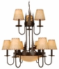Vaxcel Lighting (CH55609) Yellowstone 12 Light Chandelier shown in Burnished Bronze & Amber Flake Glass