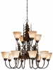 Vaxcel Lighting (CH55612) Yellowstone 12 Light Chandelier shown in Burnished Bronze & Amber Flake Glass