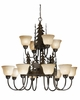 Vaxcel Lighting (CH55612) Yellowstone 12 Light Chandelier Burnished Bronze