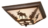 Vaxcel Lighting (CC55614) Yellowstone 14 Inch Flushmount shown in Burnished Bronze & Amber Flake Glass
