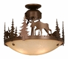 Vaxcel Lighting (CF55618) Yellowstone 18 Inch Semi-Flush shown in Burnished Bronze & Amber Flake Glass