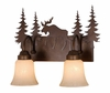 Vaxcel Lighting (VL55602) Yellowstone 2 Light Vanity shown in Burnished Bronze & Amber Flake Glass