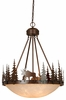 Vaxcel Lighting (PD55624) Yellowstone 24 Inch Pendant shown in Burnished Bronze & Amber Flake Glass