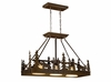 Vaxcel Lighting (PD55636) Yellowstone 36 Inch Kitchen Island Pendant shown in Burnished Bronze & Amber Flake Glass