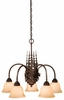 Vaxcel Lighting (CH55605) Yellowstone 5 Light Chandelier shown in Burnished Bronze & Amber Flake Glass