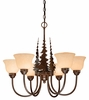 Vaxcel Lighting (CH55656) Yellowstone 6 Light Chandelier shown in Burnished Bronze & Amber Flake Glass