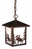 Vaxcel Lighting (OD36986) Yellowstone Outdoor Pendant (Moose) shown in Burnished Bronze & White Tiffany Glass