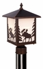 Vaxcel Lighting (OP36985) Yellowstone Outdoor Post Light (Moose) shown in Burnished Bronze & White Tiffany Glass