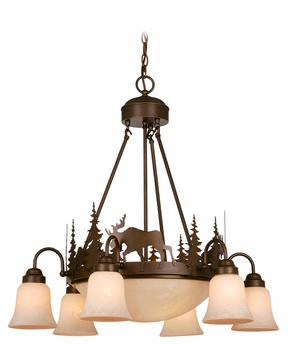 Vaxcel Lighting (CH55606) Yellowstone 9 Light Chandelier shown in Burnished Bronze & Amber Flake Glass