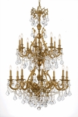 Yorkshire Collection 16 Light Chandeliers with Hand Polished Crystals shown in Aged Brass by Crystorama Lighting
