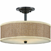 "Quoizel Lighting (ZE1717K) Zen 17"" Semi-Flush Mount in Mystic Black"