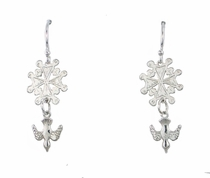 Dangle Hugenot Cross earrings in Sterling silver