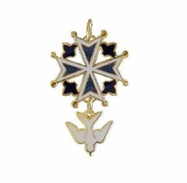Enamel Huguenot Cross Pendant with 24K Gold Overlay