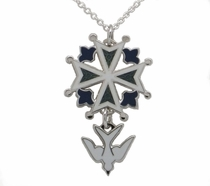 Enamel Huguenot Cross Pendant with Rhodium Finish